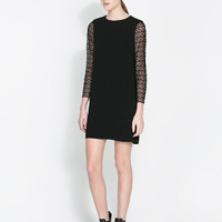 Black Long Sleeve Lace Accent A-Line Mini Dress