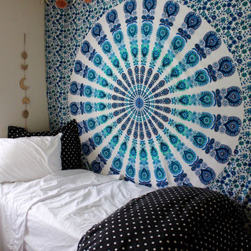 Gypsy Aquamarine Mandala Wall Tapestry Blue Green White Teal