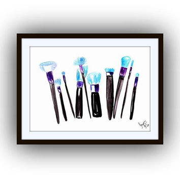 Teal Makeup brushes, print, coco chanel, fine art, watercolor painting, fashion, beauty, wall decal, girl room decor, gift for her, posters
