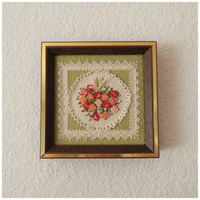 Vintage 70s Miniature Floral Needlepoint Home Decor Mini Wall Hanging Folk Art