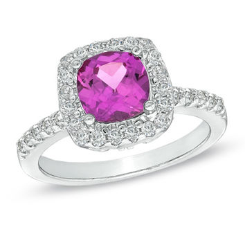 7.0mm Cushion-Cut Lab-Created Pink and White Sapphire Frame Ring in Sterling Silver - Size 7