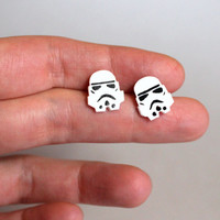 Star Wars Stormtrooper Handmade Stud Earrings, Titanium Hypoallergenic Polymer Clay Geek Jewelry