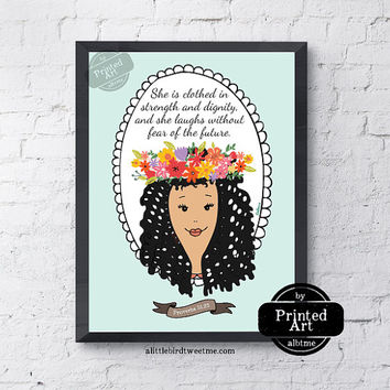 Inspirational Women Art. Proverbs 31:25. She is Clothed Multiethnic Scripture Wall Art. 8.5 x 11""