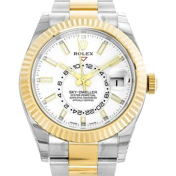 Rolex Sky-Dweller 42mm Stainless Steel & 18K Yellow Gold White Dial Watch 326933
