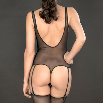 Maison Close: Pure Tentation Thong Bodysuit with Detachable Garters