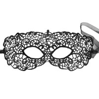Black Cut-Out Crochet Lace Mask