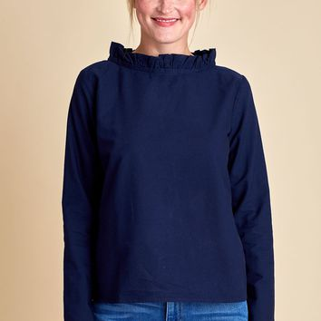 Fate Navy Ruffle Neck Top