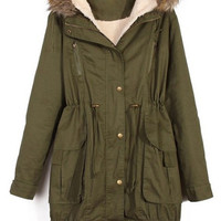Faux Fur Splicing Hooded Coat