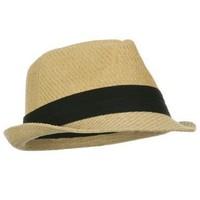 Fedora Hat - Natural Color Straw with Black Band, Natural, One Size