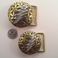 Grateful Dead ~ Brass Flower of Life Belt Buckle with Silver 13 Point Bolt (small) ~ Sacred Geometry