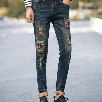 Dark Wash Frayed Jeans