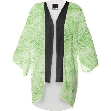 Greenery and white swirls doodles Kimono