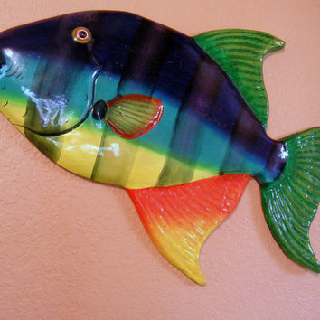 Fish Paper Mache Sculpture Wall Art Hanging Beach Nautical Home Decor