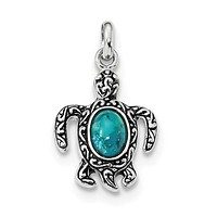 Sterling Silver Oxidized Recon. Turquoise Turtle Pendant