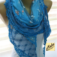 Blue scarf- scarf - gift Ideas For Her Women's Scarves-christmas gift- for her -Fashion accessories