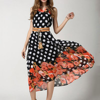 Bohemian Sleeveless Polka Dot Floral Chiffon A-Line Maxi Dress with Belt