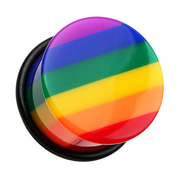 Rainbow Stripe Single Flared Ear Gauge Plug