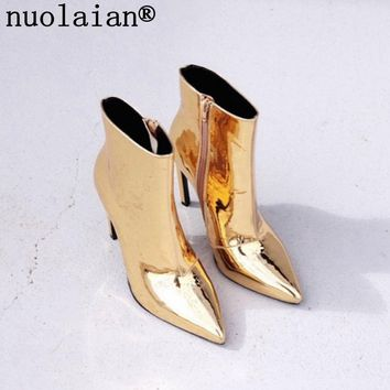 10.5CM Ladies Ankle Boots Woman Platform Heels Boots Women Winter Botas High Heel Boots Gold Silver Patent Leather Winter Shoes