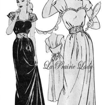 Repro Vintage Pattern Evening or Night Gown 40s on Printable PDF B34 and 36