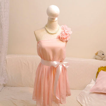 Romantic Baby Pink Marie Antoinette chiffon dress flower Pedal shoulder tunic pleated one shoulder white sash