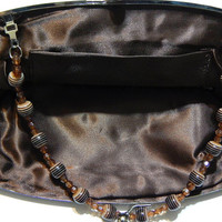 Vintage Beaded Sequin Purse/Clutch - Gold And Amber Brown - 9 Inch - Heart Shaped Center Pattern