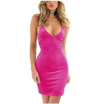 Women's Sexy Hot Pink Velvet Backless Bodycon Dress