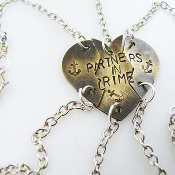 Anchor Heart bracelets - Partners in Crime - Personalized, Puzzle Pieces, Set of 3, hand stamped