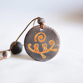 Ancient Greek ceramic pottery clay adjustable necklace, Greek mythology jewelry, Sea necklace, leather pendant, bohemian style