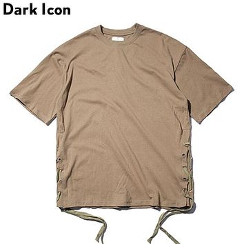 Solid Color Side String Hip Hop T shirt Men Summer Street wear Blank Men's T-shirt Casual Tee Shirts 4 Colors