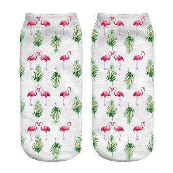 1pair 3D Flamingo Leaves  Printed sock Men New Unisex Cute Low Cut Ankle Sock Color Cotton sock Casual Charactor Sock Free Ship