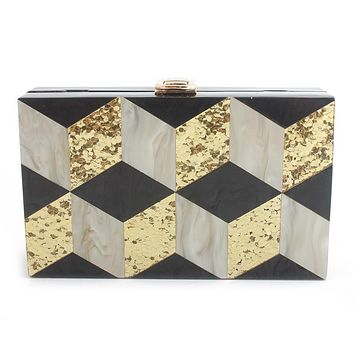Black Grid Acrylic Box Clutch
