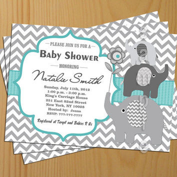 Chevron Baby Shower Invitation Boy teal tiffany Printable -FREE Thank You card included, Baby Shower Invite Printable