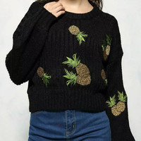 Pineapple Embellished Batwing Sleeve Knitwear