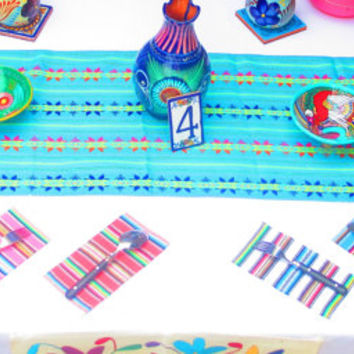 Tribal runner, Table cloth, Mexican Table Runner, Bohemian Chic, Aztec, Tribal, blue with tribal details, table linens, 10 sizes available