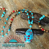 Long beaded turquoise necklace with matching bracelet, bohemian hippie jewelry