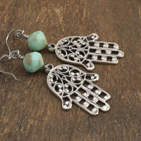Free Shipping Jewelry - TURQUOISE HAMSA Earrings by Cheydrea