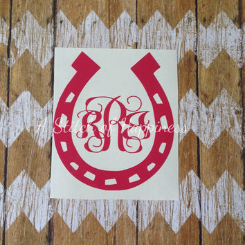 Monogram Horseshoe Car Decal - Monogrammed Horseshoe Car Sticker