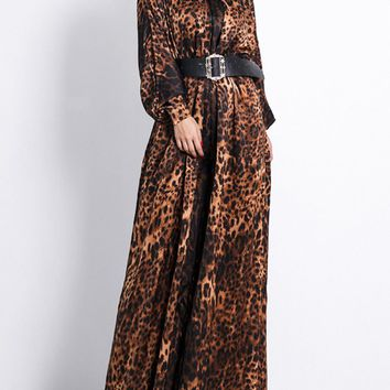 Dramatic Romance Brown Leopard Print Animal Pattern Long Sleeve Mock Neck Wide Leg Jumpsuit