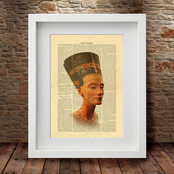 Ancient Egyptian Queen Nefertiti, Celebrity Portraits, Ancient Egypt Art Wall Decor, Old Pages Art Print