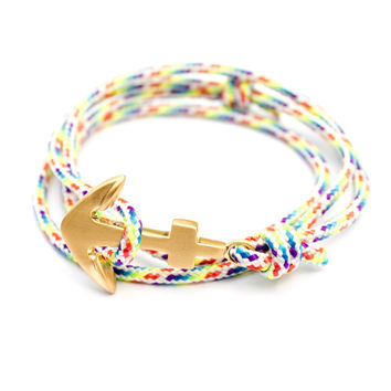 Brushed Gold Anchor on Rainbow Cord