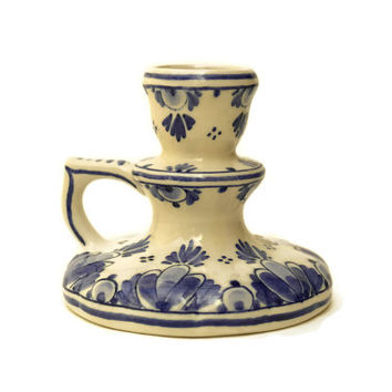 Delft Blue Candlestick Holder With Handle. Blue and White Ceramic Candle Holder by De Delftse Pauw.