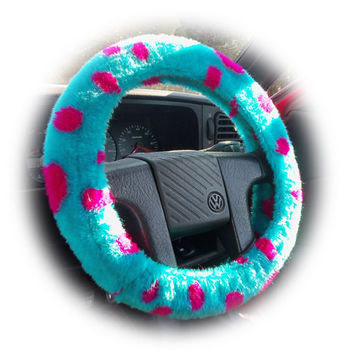 Spotty Dino fuzzy car steering wheel cover turquoise and lilac Monster Spots Sully fur like monsters inc
