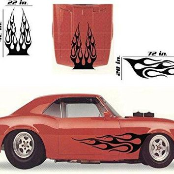 Tribal Flame Car Decals Hood Decal Side Set Vinyl Sticker Auto Decor Graphic Kit HF051