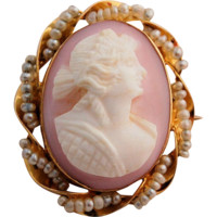 Antique Edwardian Oval Cameo 10k Yellow Gold Hand-carved Pink Shell with Tiny Seed Pearls