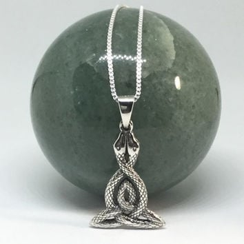 Triquetra Necklace Sterling Silver Celtic Pendant Large Necklace Double Snakes Celtic Knot Necklace Ancient