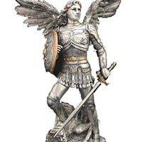 A Veronese Archangel Michael statue in a pewter style finish with golden highlights, 9inches