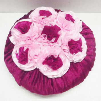 pink pillow velvet pillow accent pillowdecorative pillow wedding flower silk flower christmas pillow designer pillow round circle pillow