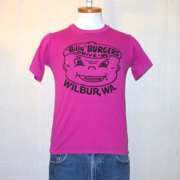 Vintage 80s BILLY BURGERS GRAPHIC Funny Drive In Washington State Soft Thin Unisex Small 50/50 T-Shirt