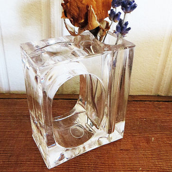 Lucite Napkin Rings with Vase Set of 24 Clear