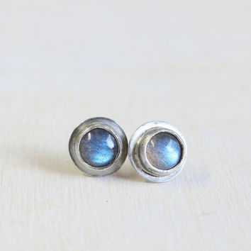Sterling silver labradorite tiny stud earrings